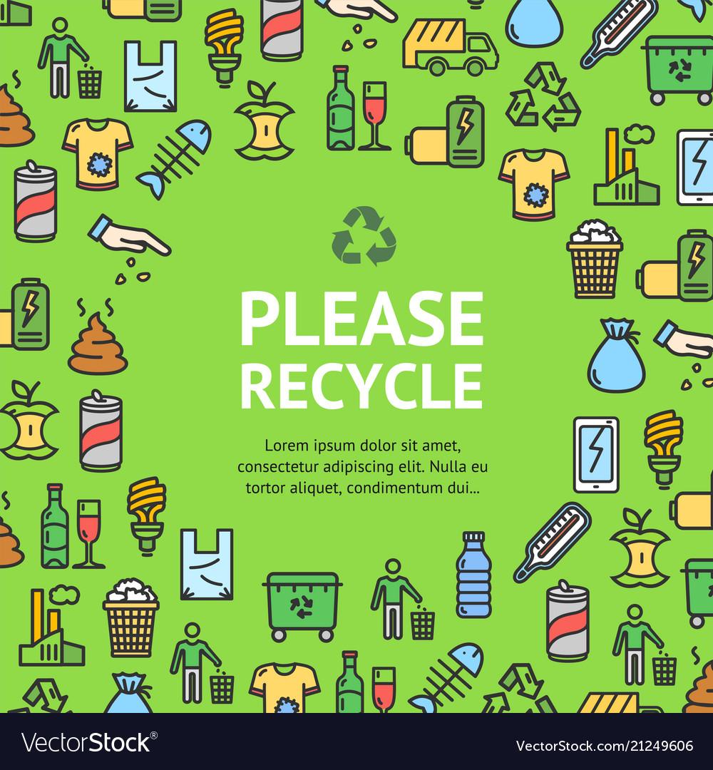 Trash signs round design template thin line icon