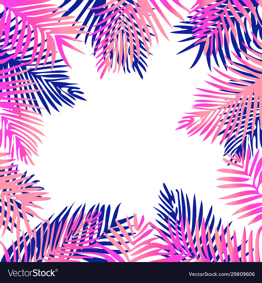 Tropical exotic palm leaves pink and purple