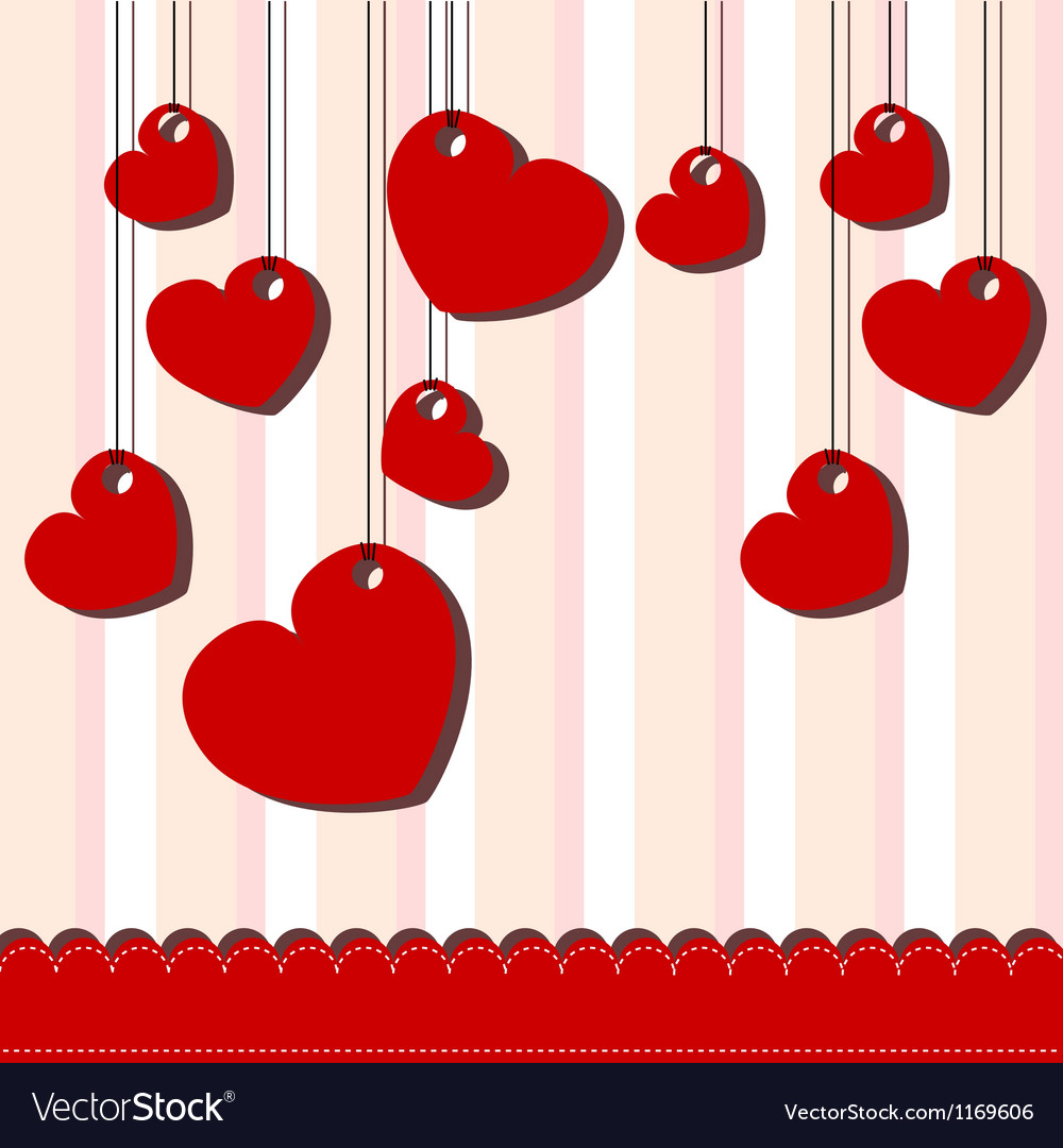 Valentine day card with hanged hearts