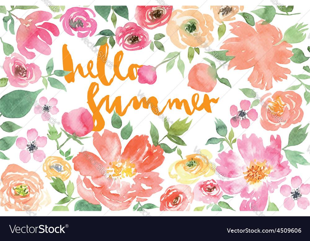 Watercolor flower summer