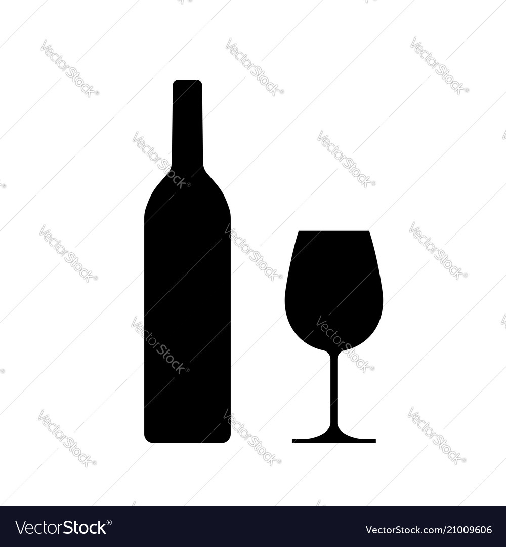 Wine bottle with wine glass