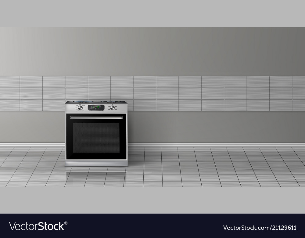 3d realistic mockup - stove in kitchen