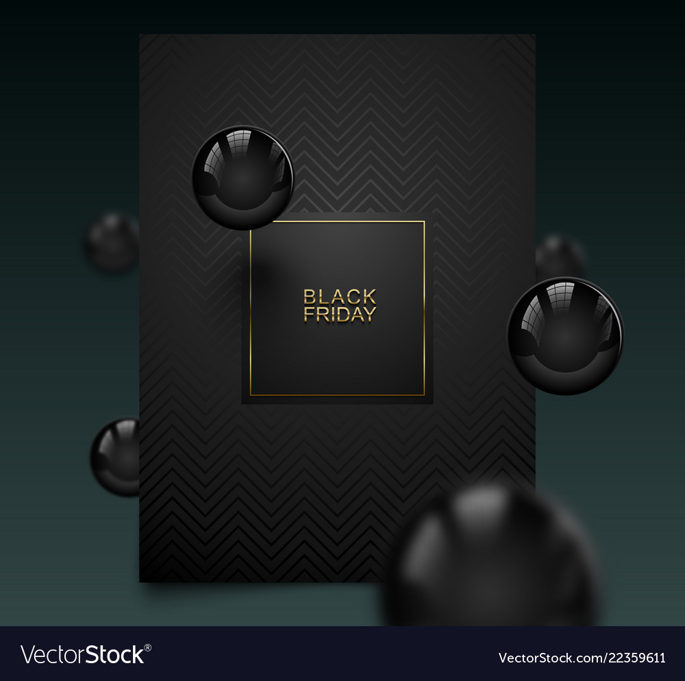 Black friday luxury banner golden text on black