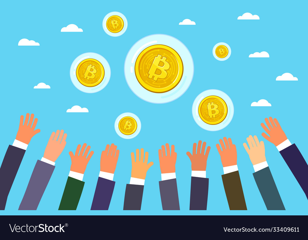 Concept crypto currency hands reach
