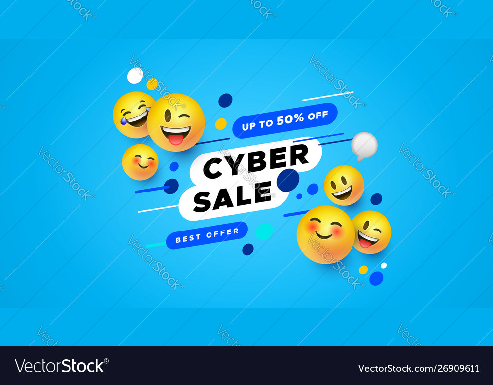 Cyber Sale Template 3d Yellow Smiley Face Banner