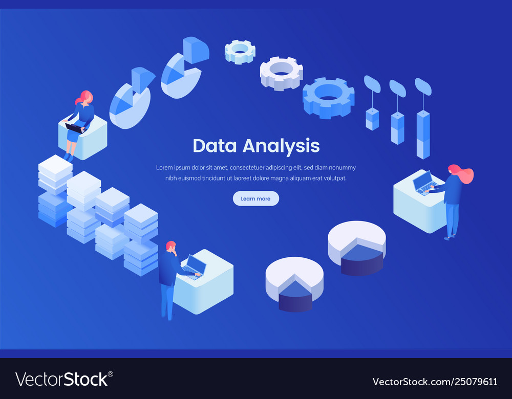Data analysis landing page isometric template