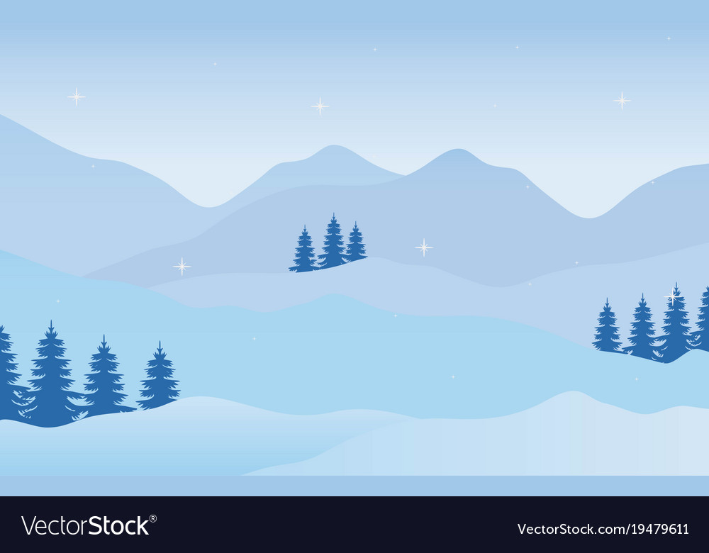 Holiday christmas winter landscape vector image