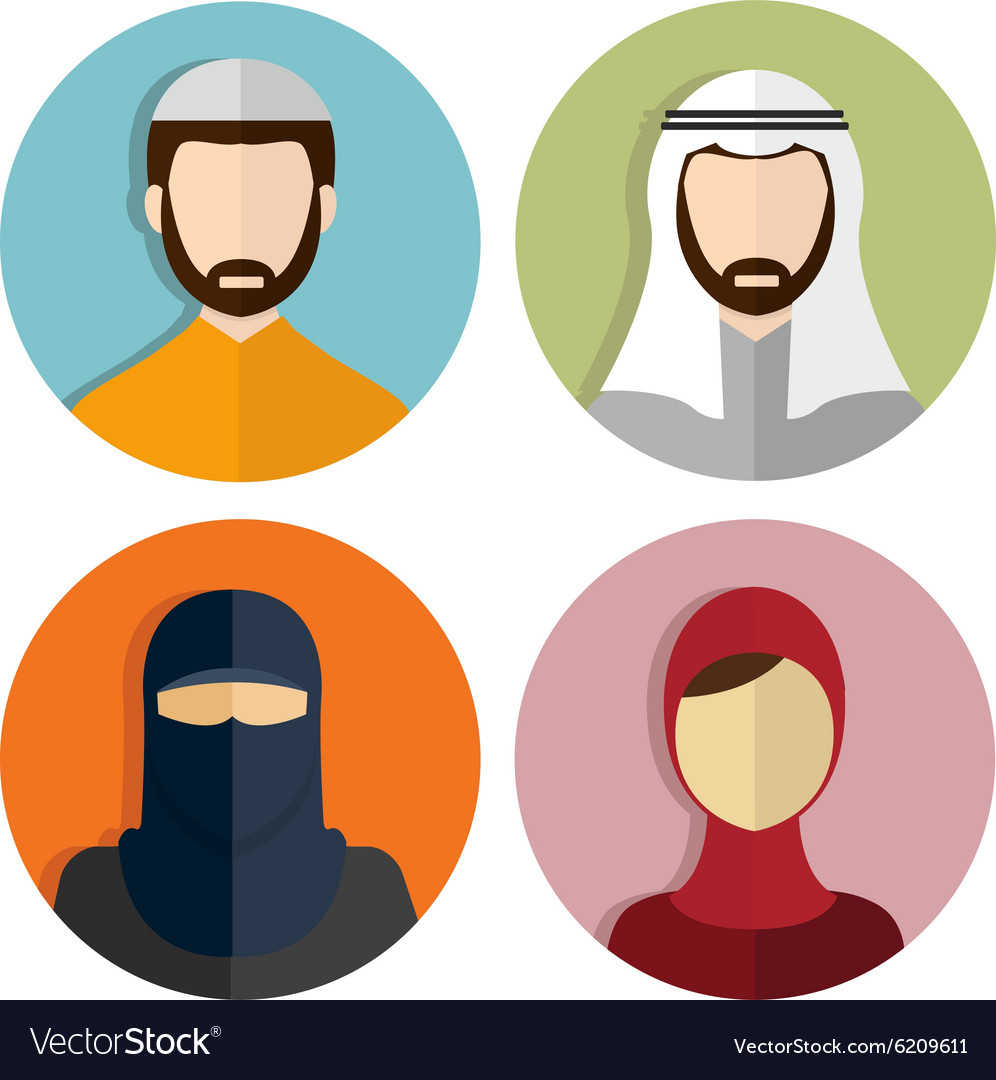 Middle Eastern Muslim Avatar People Icons Vector Image