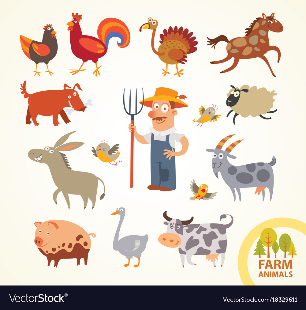 Set funny farm little animals cartoon character