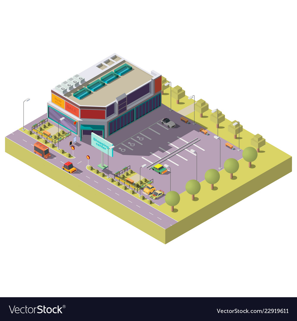 Shopping center with parking isometric