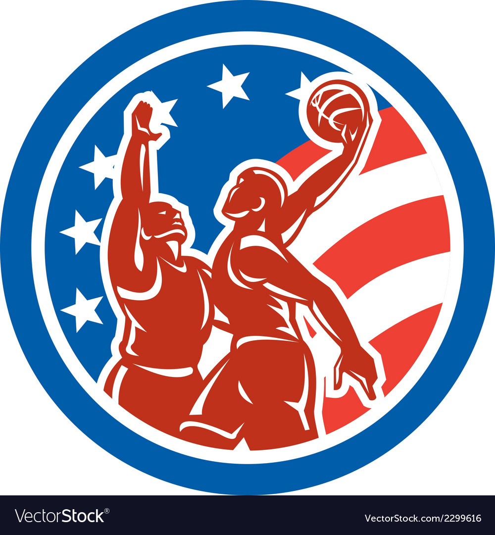 American Basketball Player Dunk Block Circle Retro vector image