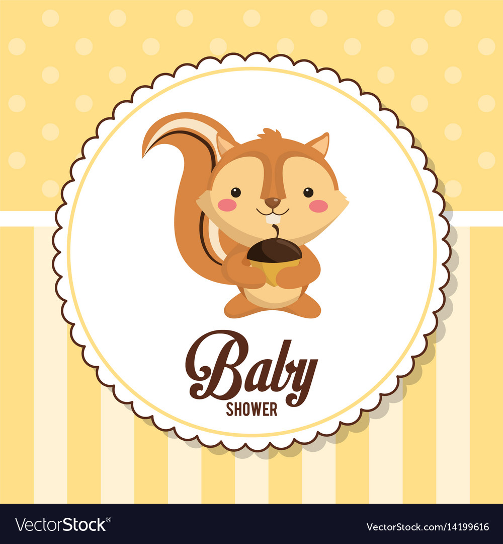 Baby shower card invitation cute chipmunk vector image