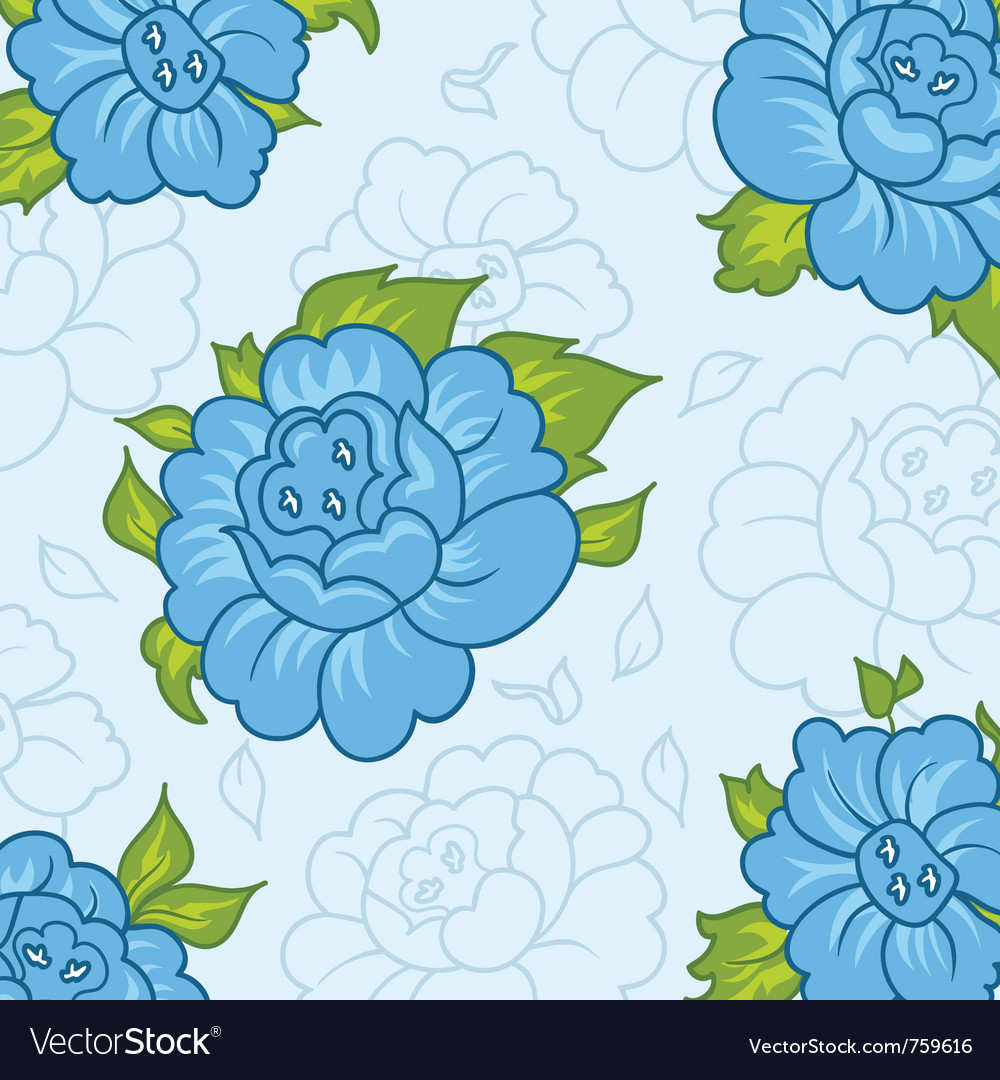 Beautiful pattern with blue flowers