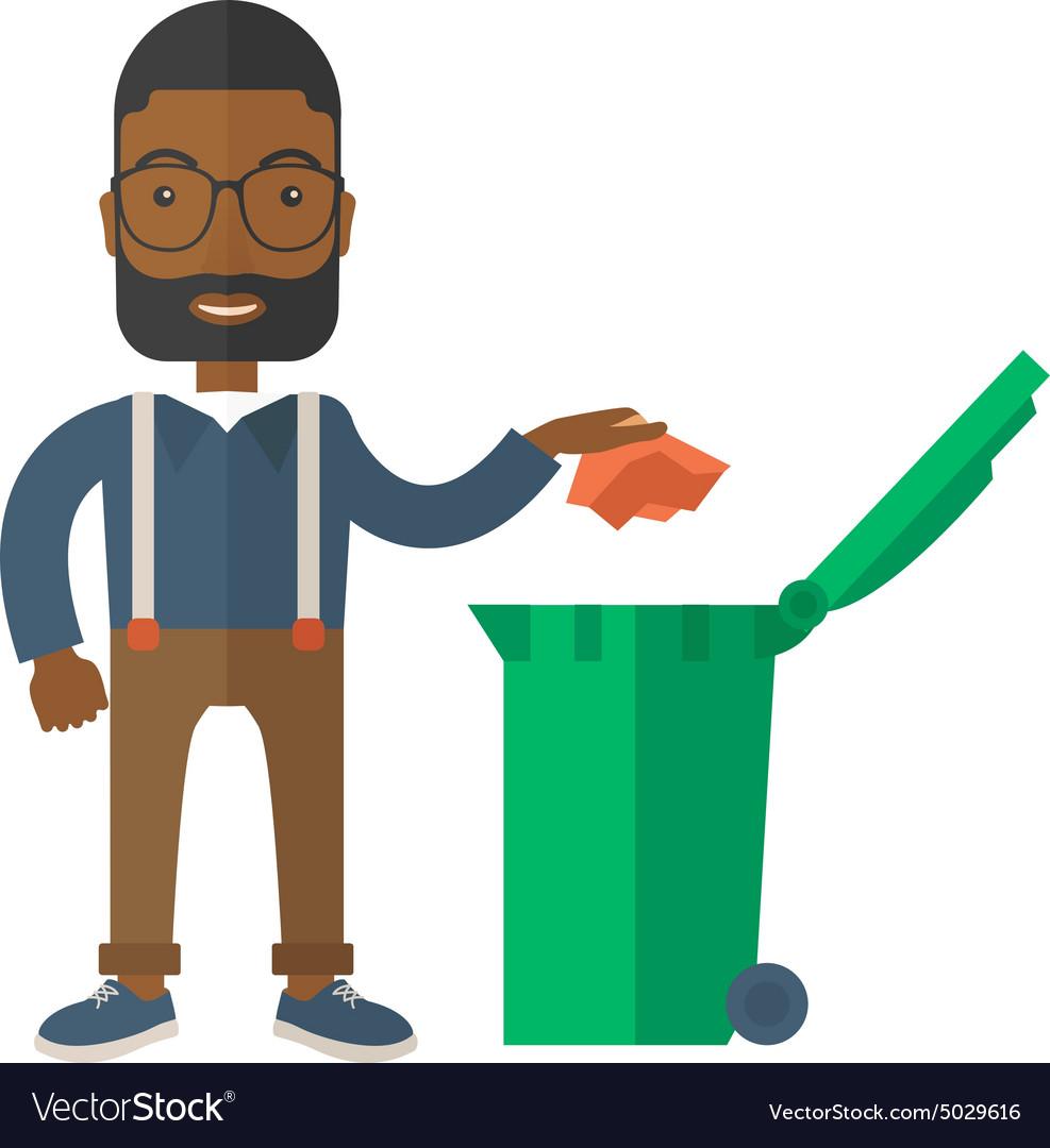 Black man throwing paper in a garbage bin Vector Image