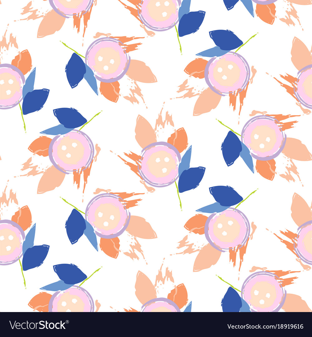 Brush Stroke Flowers Pink And Blue Floral Feminine