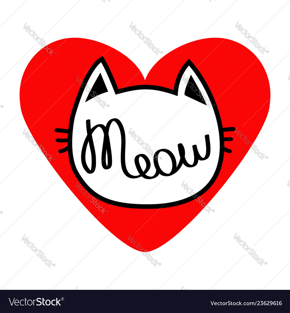 Cat head silhouette shape meow lettering text