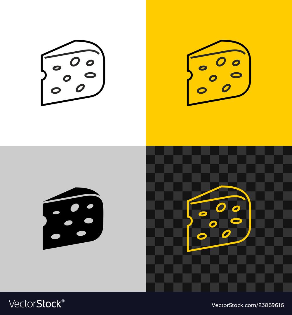 Cheese icon piece of semi hard cheese head