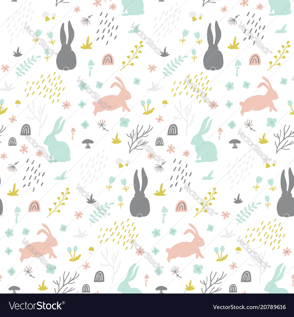 Childish seamless pattern with bunny hand drawn