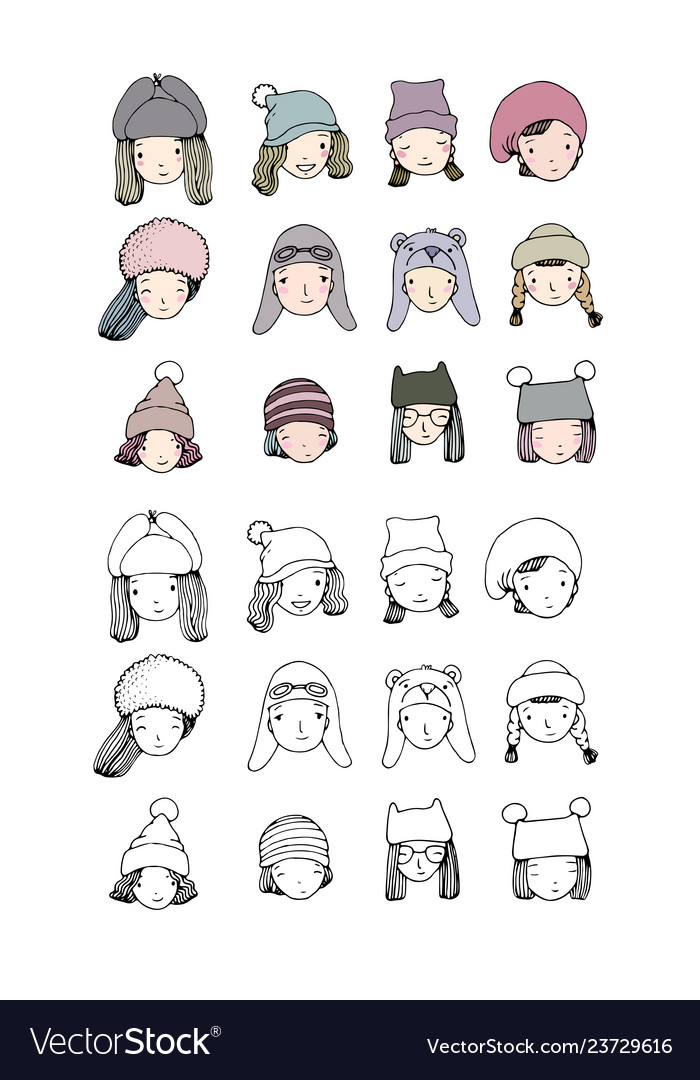 Different faces girls in winter hats funny