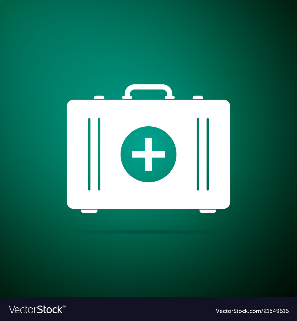 First aid kit icon medical box with cross