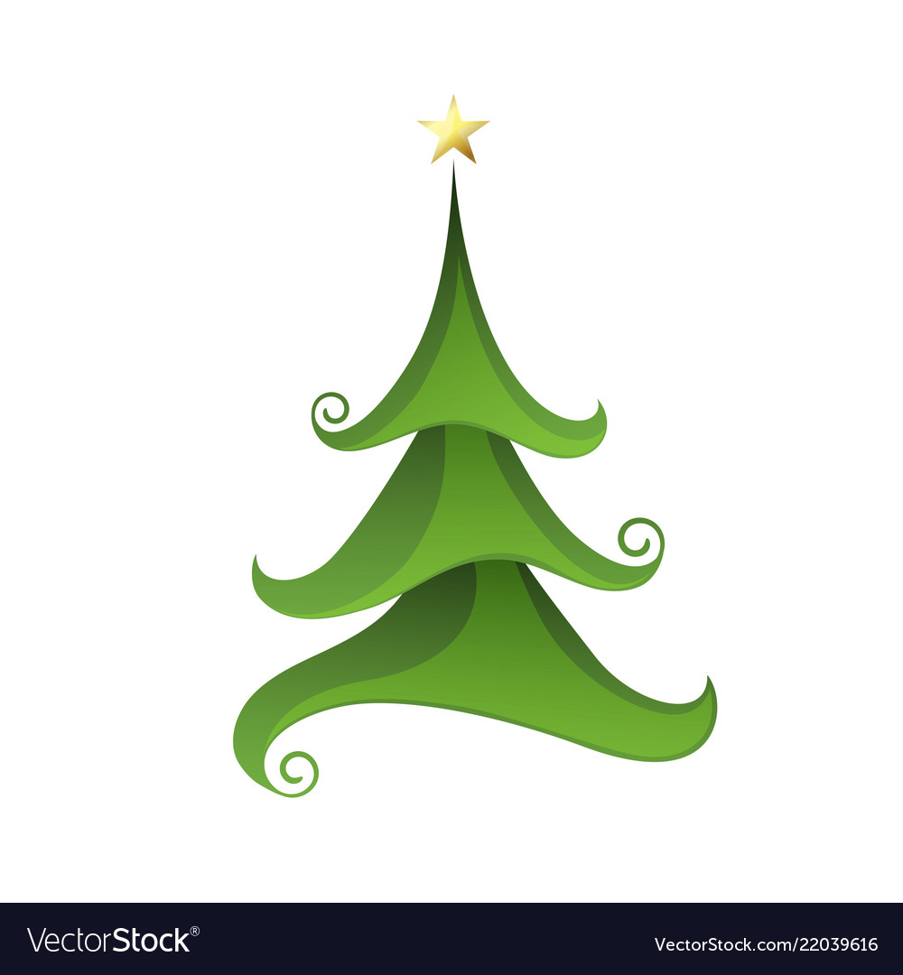 Merry christmas tree isolated on white vector