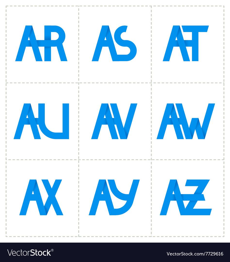 Modern minimalis initial logo 3 vector image