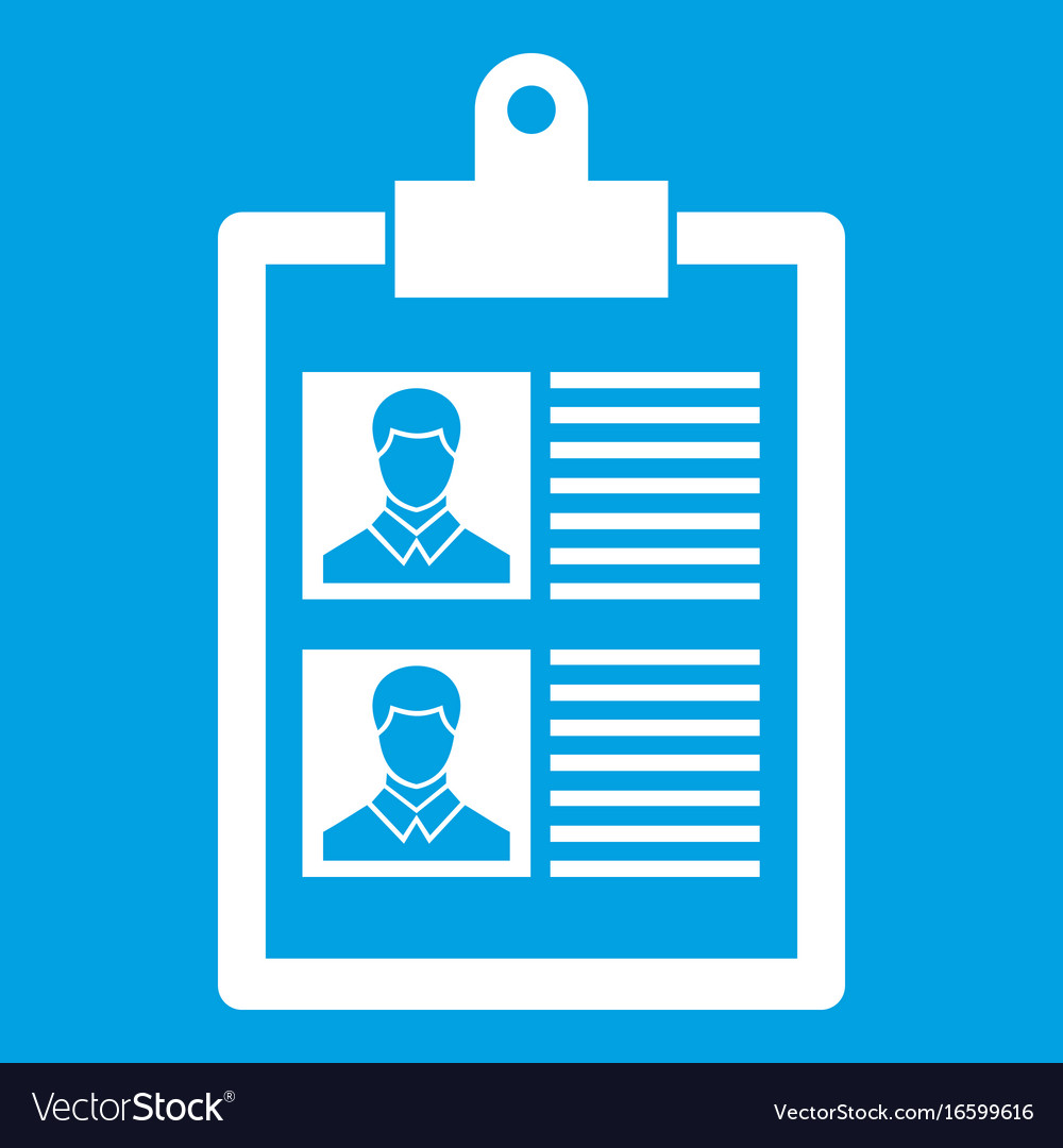 resume of two candidates icon white royalty free vector