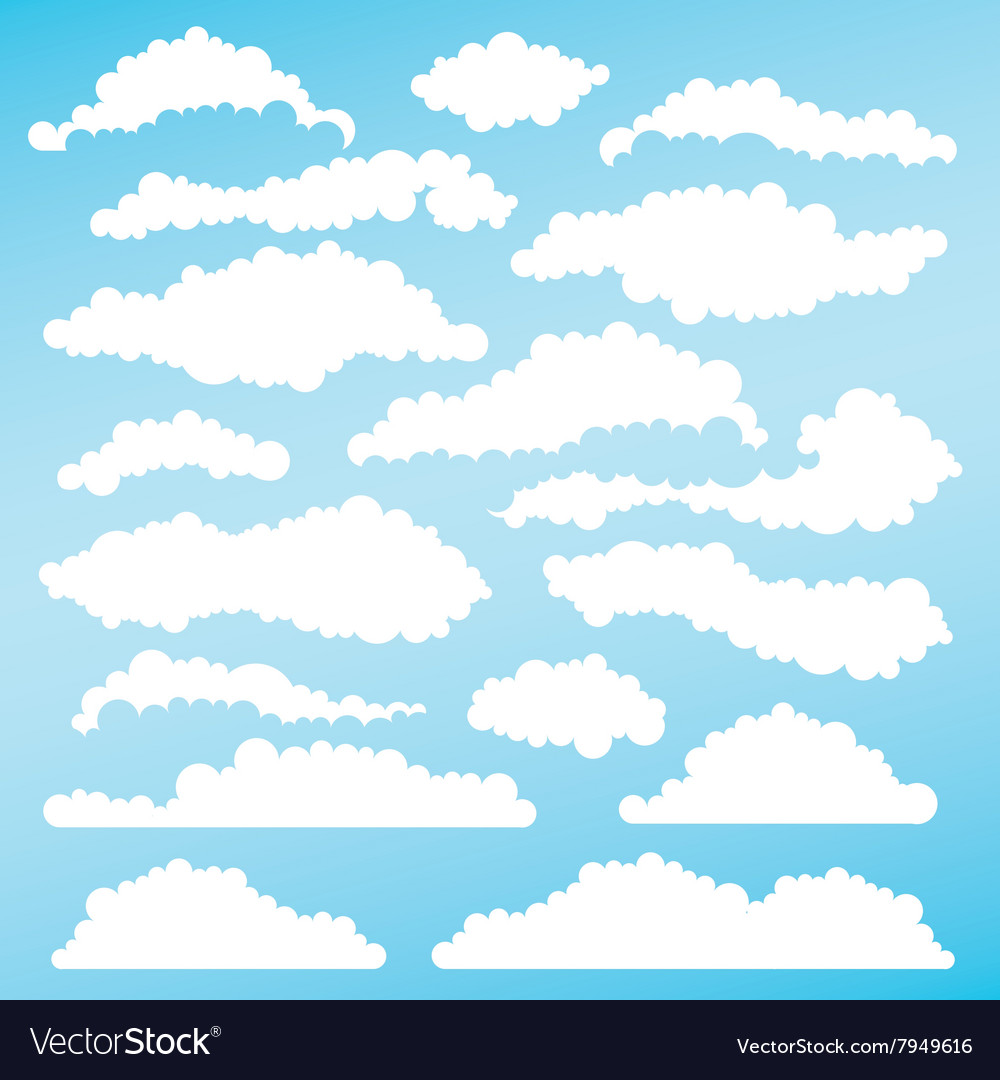 Set of fluffy clouds for design layouts