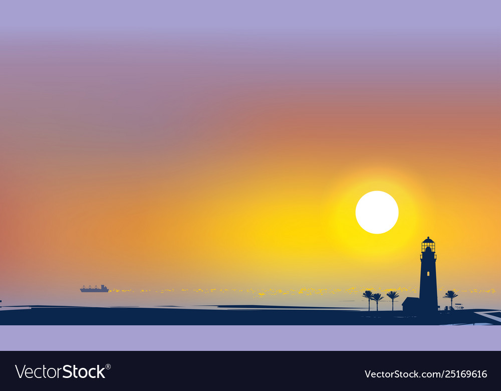 Tropical seascape with lighthouse palms and ship