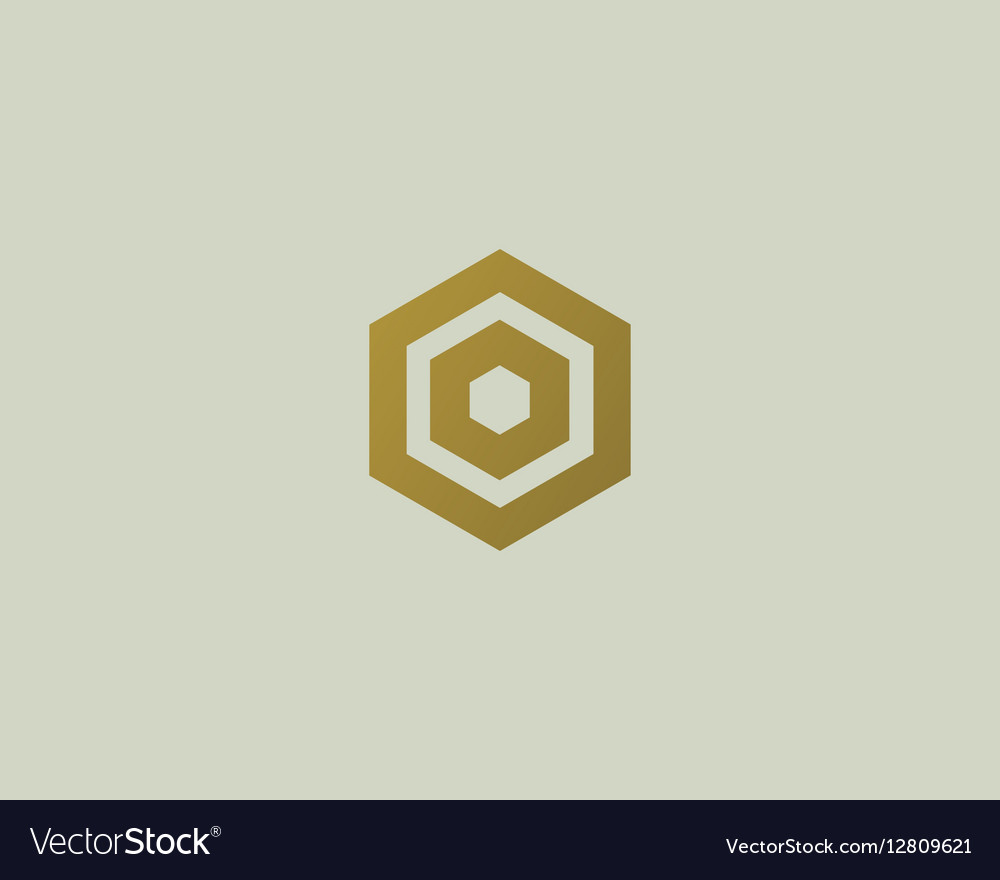 Abstract letter O logotype Line hexagon
