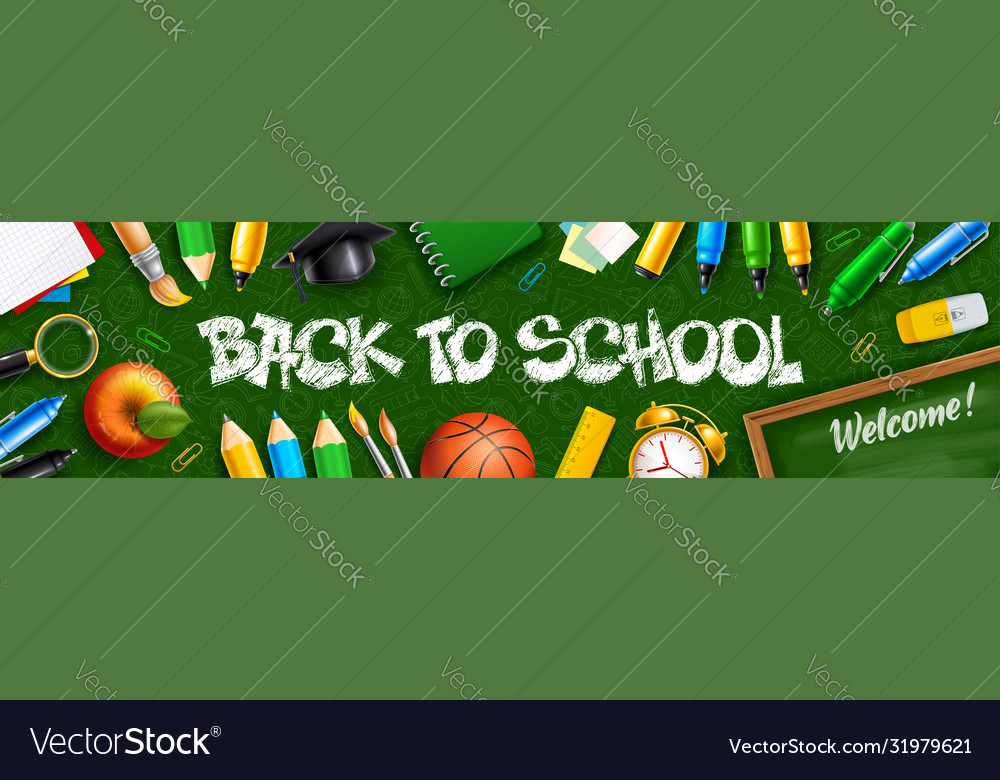 Back to school horizontal banner with school