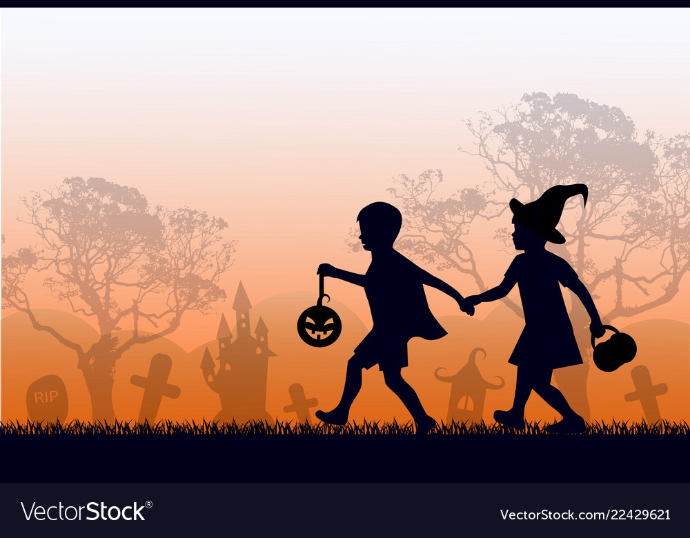 Black silhouettes children in suits go hand vector