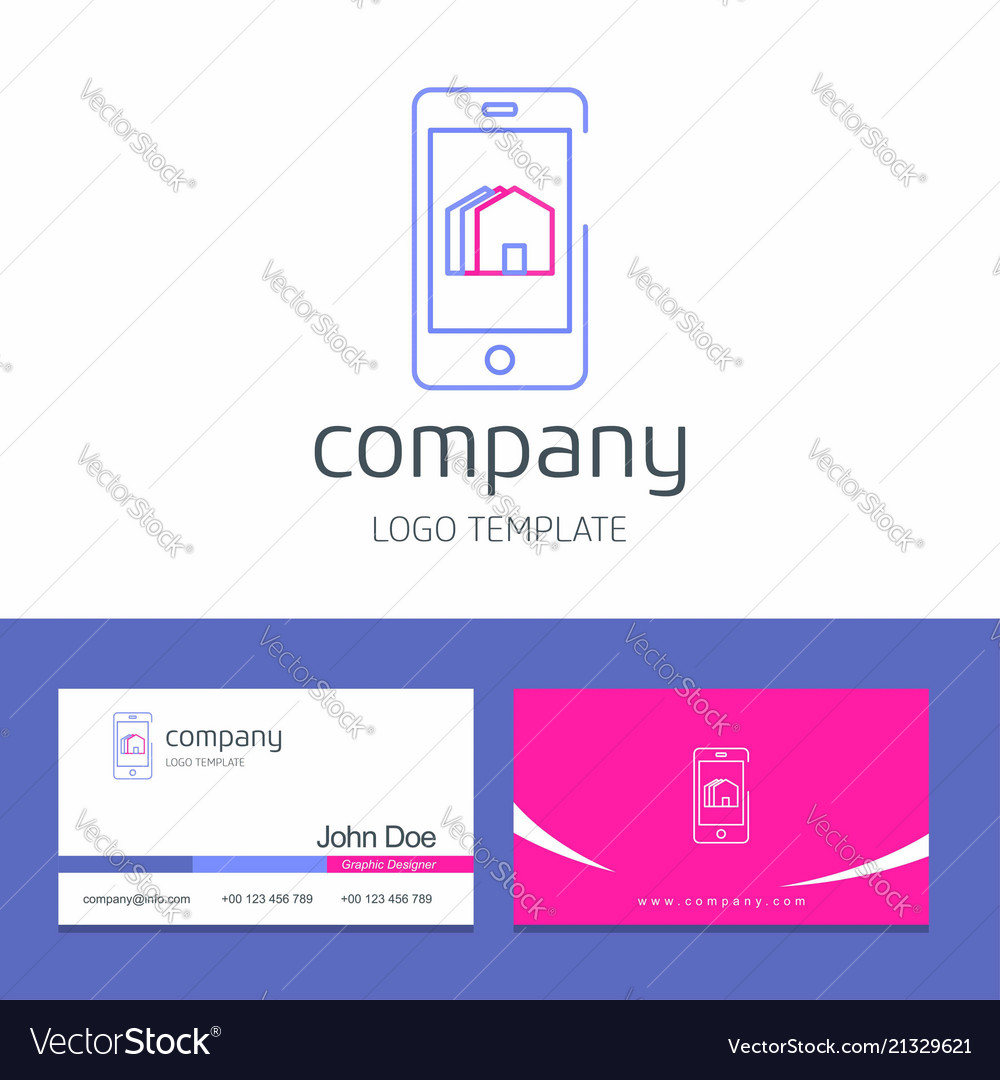 Business Card Design With Smart Phone Company Logo Vector Image