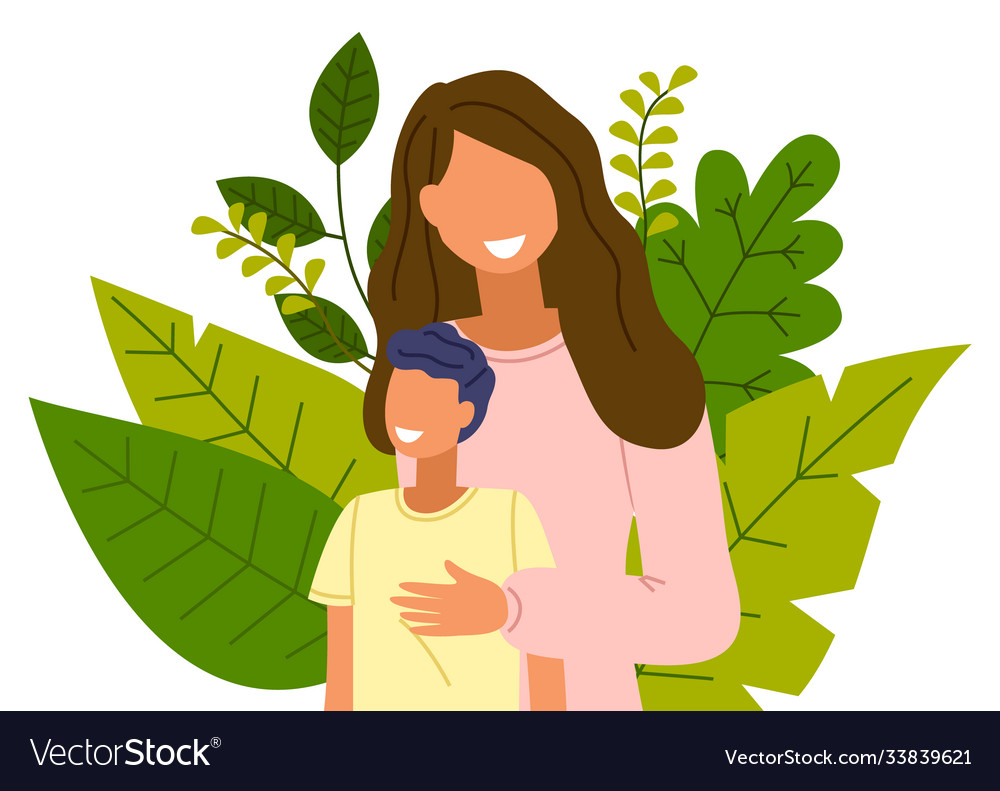 Cartoon mother with son stands on background of