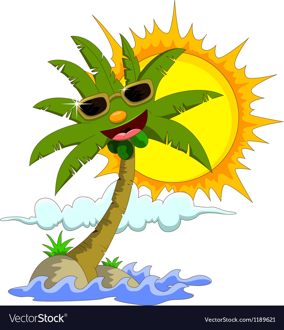 cartoon palm tree and sun royalty free vector image vector palm tree images vector palm tree leaves
