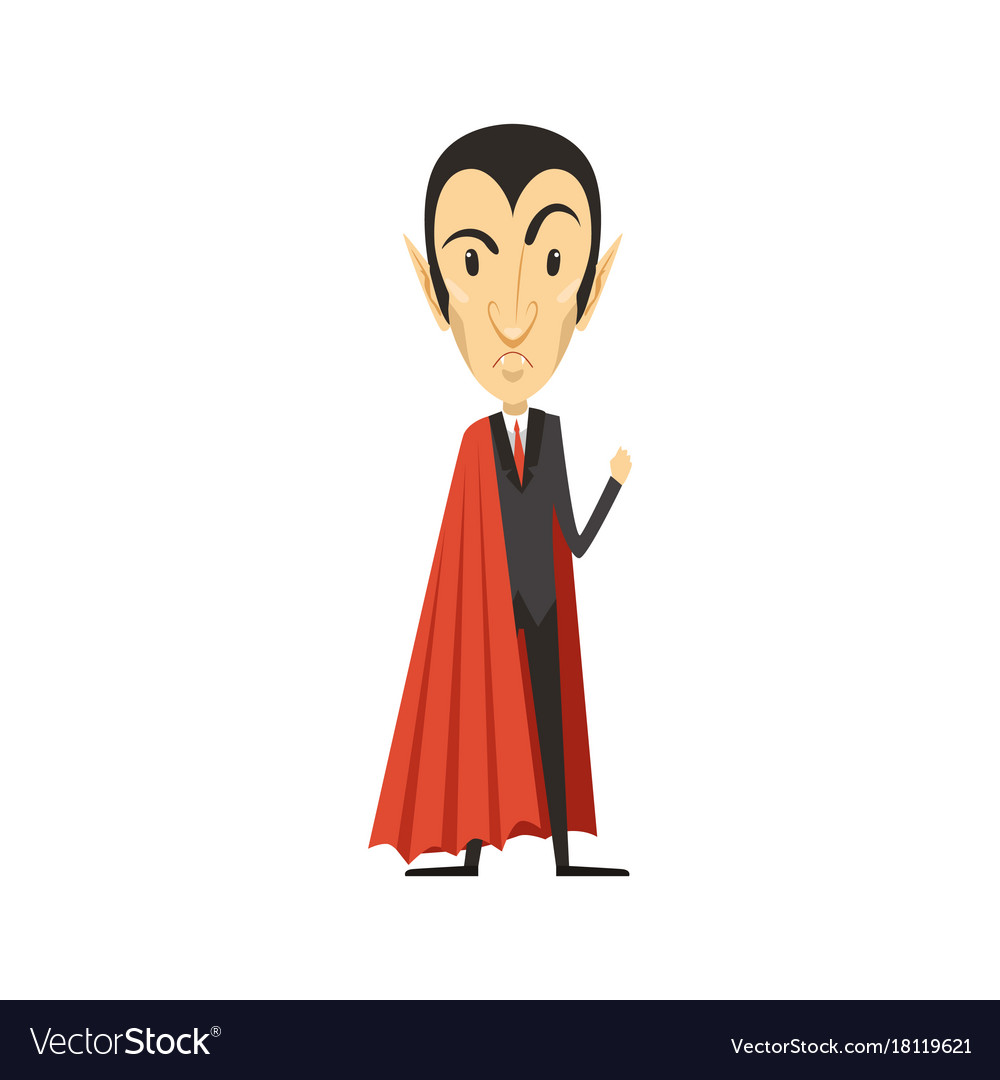 Count dracula angry vampire in suit and red cape
