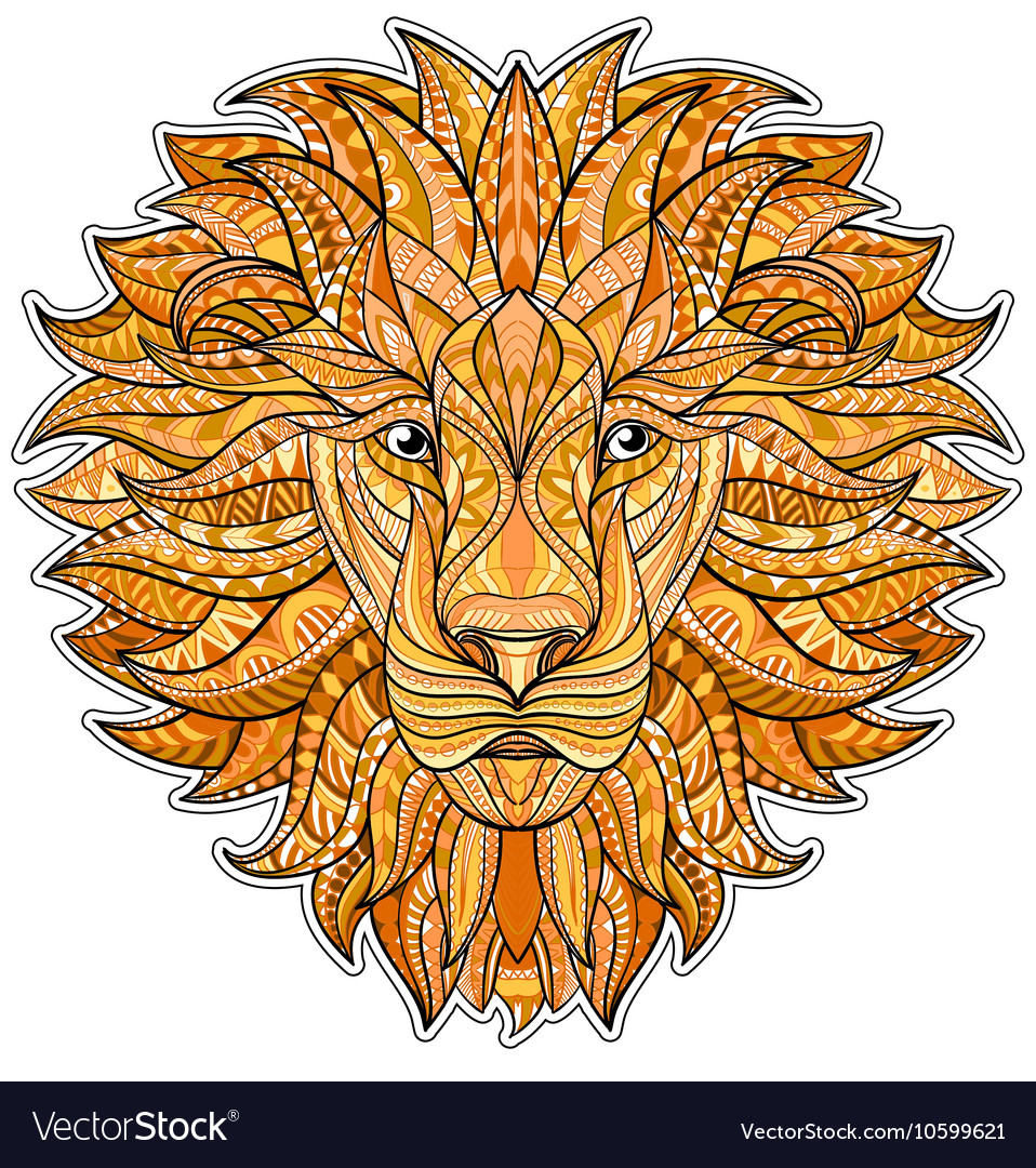 Detailed colored Lion in aztec style Patterned