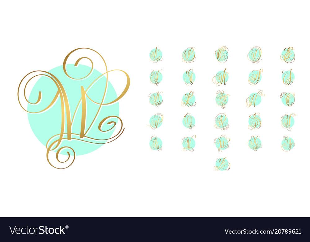 Golden hand lettering alphabet design on green