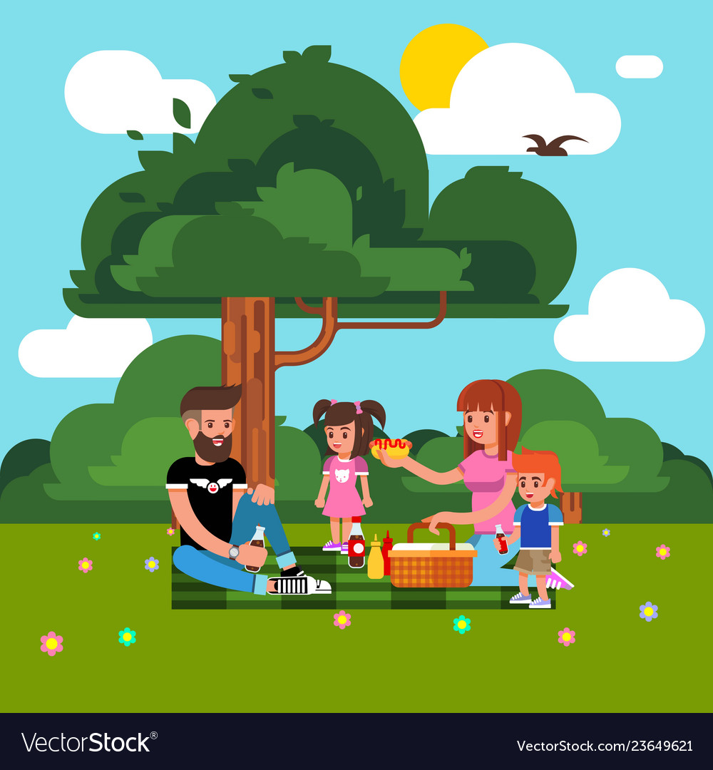 Happy family has a picnic in nature