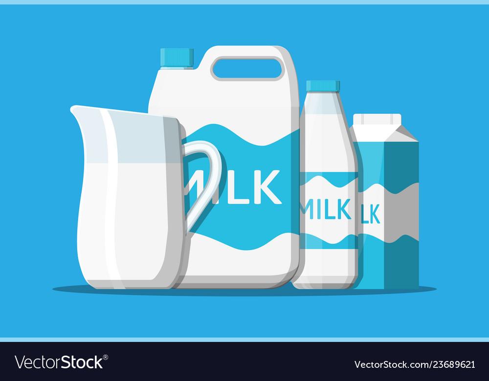 Milk set isolated on blue