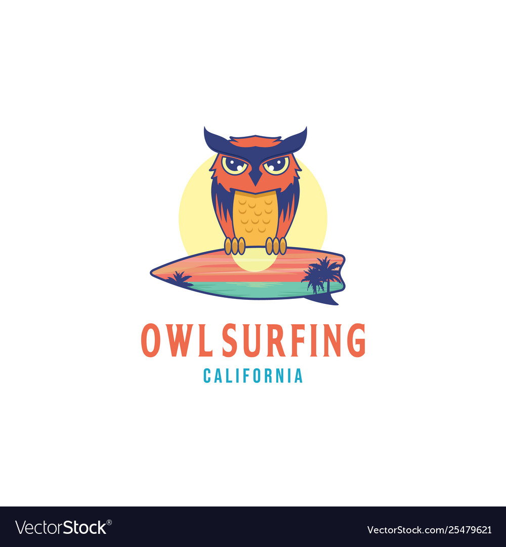 Owl surfing logo design inspiration with a sunset