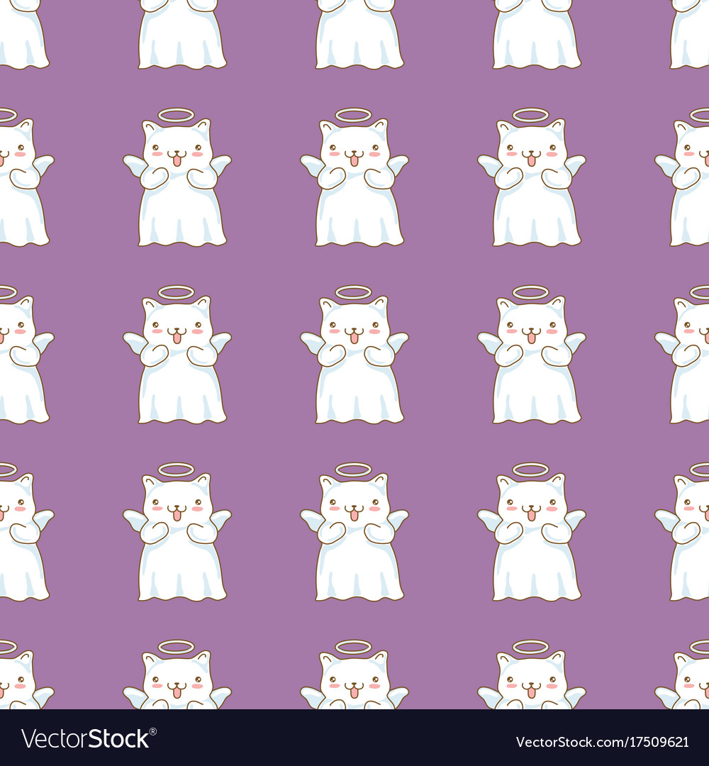 Seamless pattern background with cartoon cats