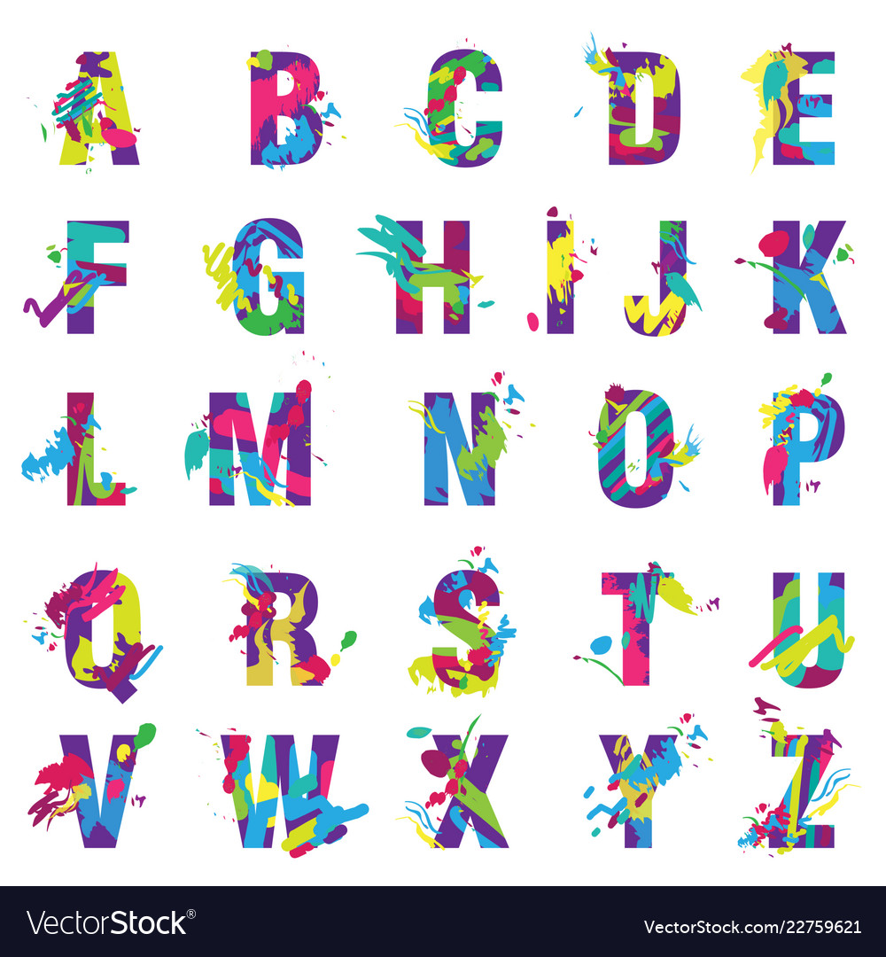 Trendy letters alphabet painted color vector