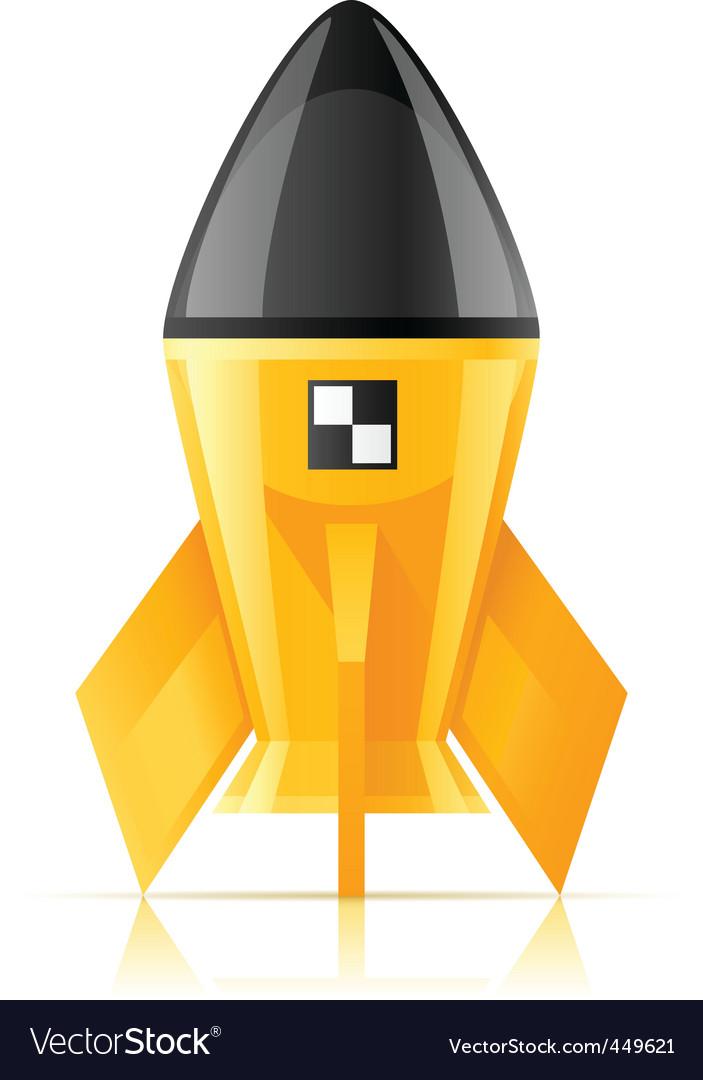 Yellow cosmic rocket vector image