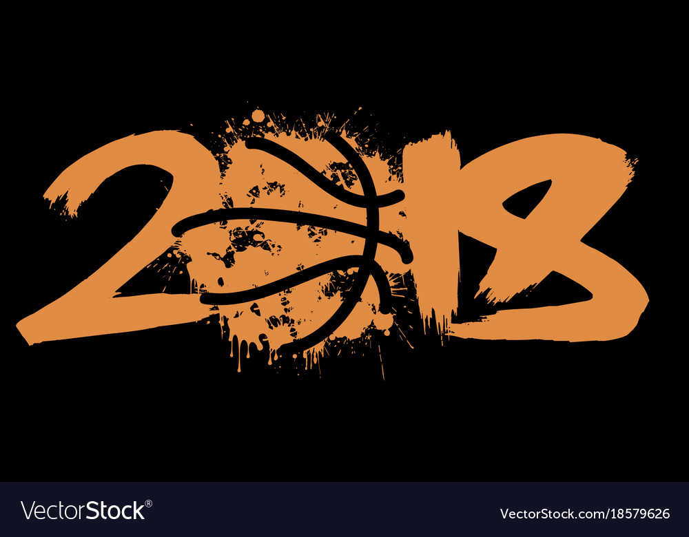 abstract number 2018 and basketball royalty free vector