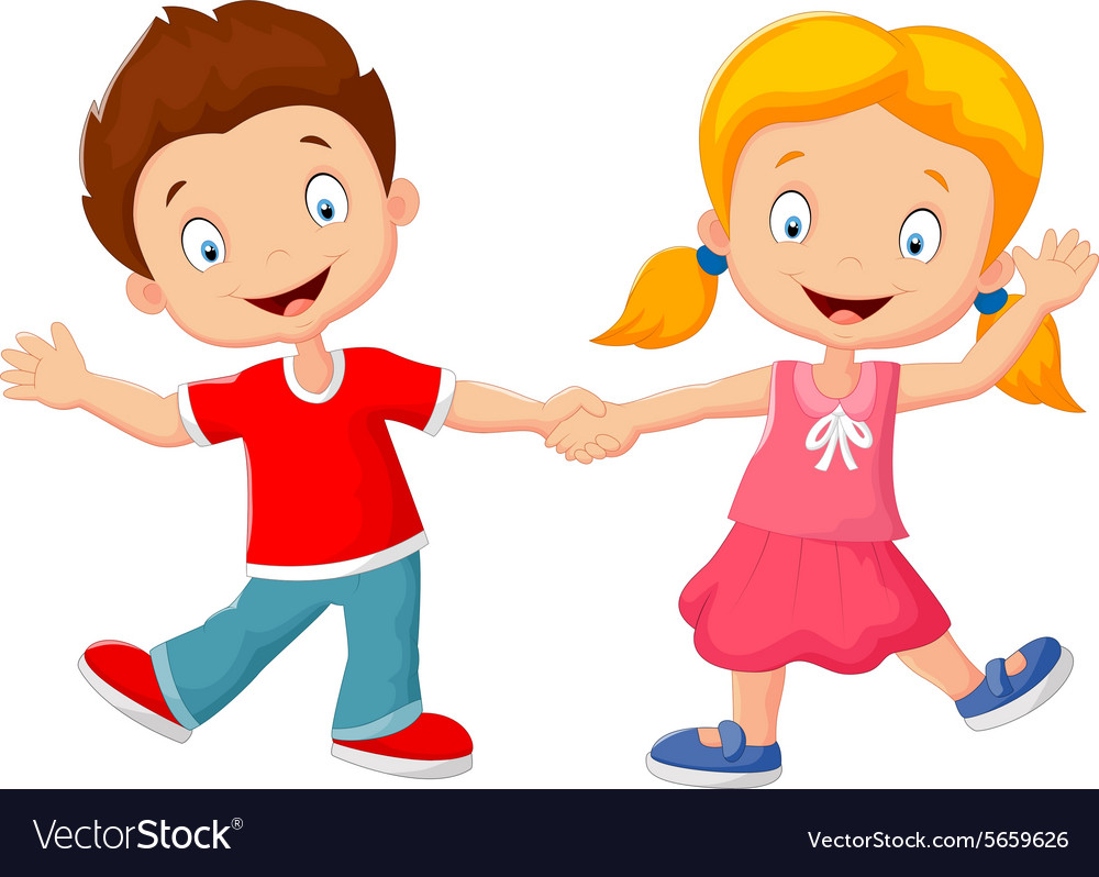 cartoon little kids holding hand royalty free vector image rh vectorstock com Black Cartoon Holding Hands Best Friends Holding Hands Cartoon