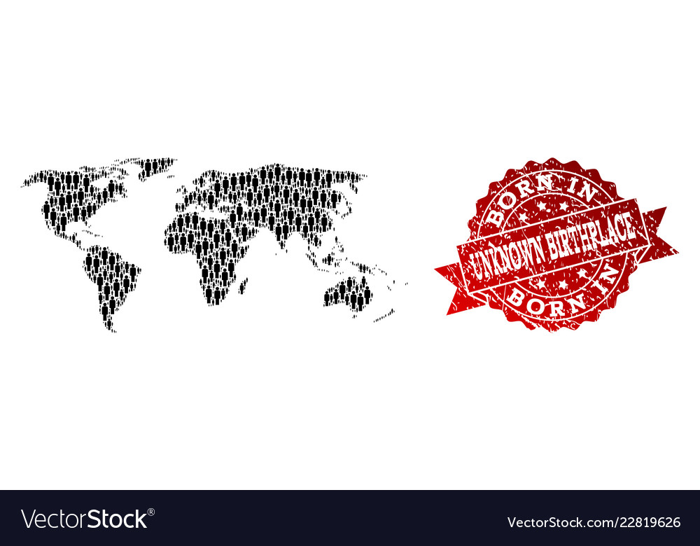 World Map Watermark.Crowd Collage Of Mosaic Map Of World And Grunge Vector Image