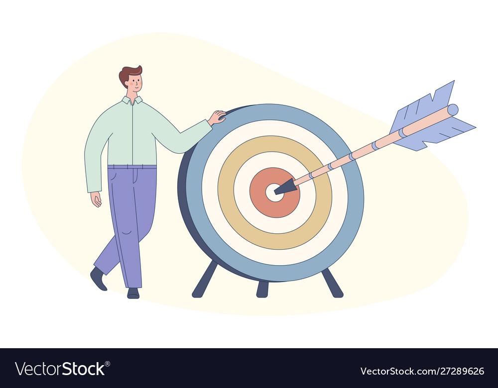 Cute cartoon man and dart board with bow arrow