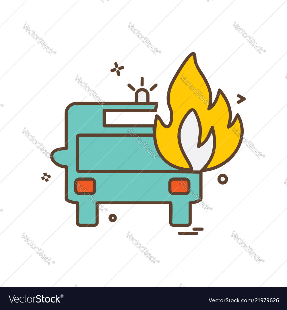 Fire Truck Icon Design Royalty Free Vector Image Engine Diagram