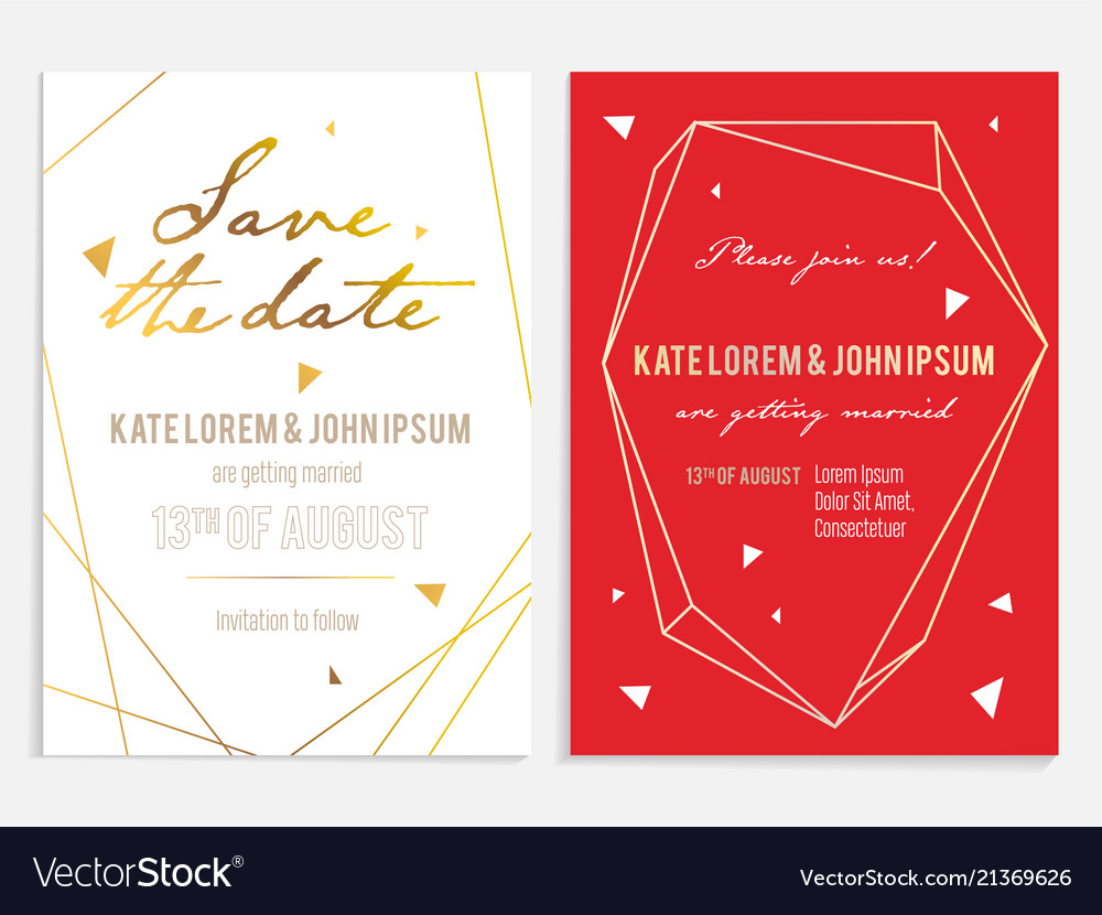 Luxury wedding invitation and save the date card Vector Image